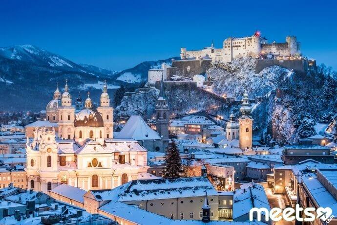 Historic city of Salzburg in winter, Salzburger Land, Austria